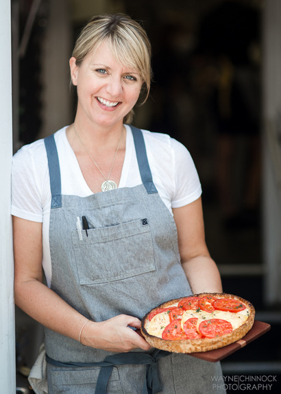 CRU Executive Chef Erin Zircher with CRU Tomato Tart
